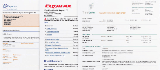 Screenshot of Three Credit Reports