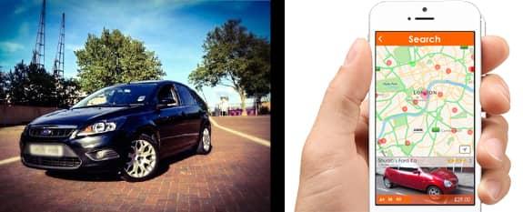 Photo of car and easyCar Club app