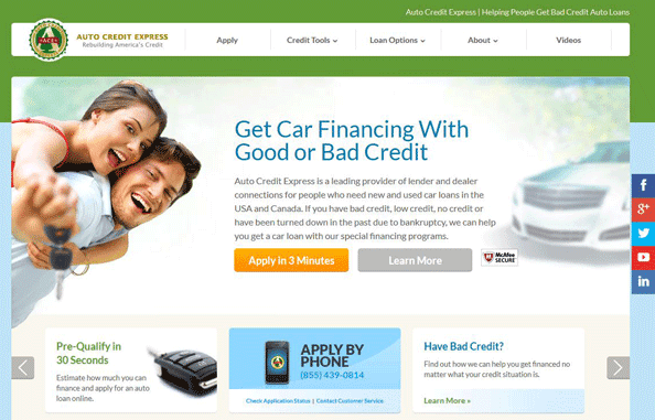 A screenshot of the Auto Credit Express homepage