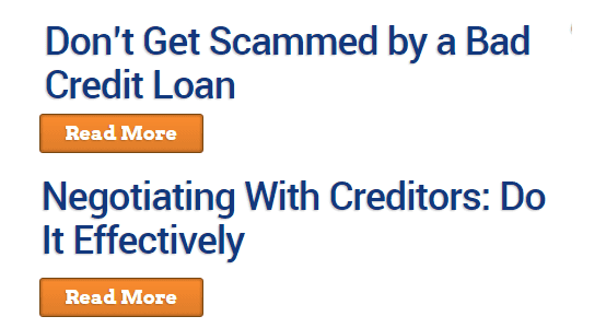 Screenshot of the Bad Credit Loans blog