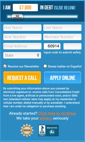 Screenshot of Consolidated Credit Online Application