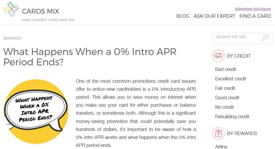 Screenshot of CardsMix Blog Post