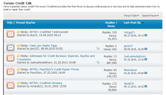 Screenshot of Creditnet Forum