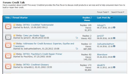 Screenshot of Creditnet Forum