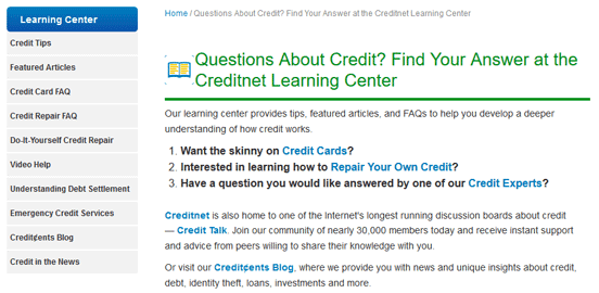 Screenshot of Creditnet Learning Center Page