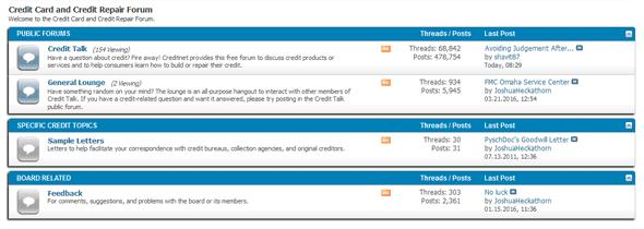 A screenshot of the Creditnet.com forums