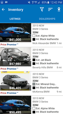 Screenshot of Edmunds Mobile App