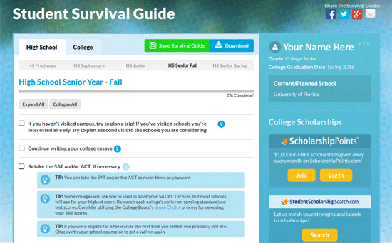A screenshot from the Edvisors Student Survival Guide