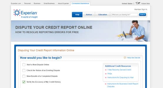 Experian screenshot of dispute page