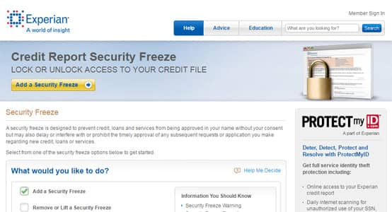 Experian Security Freeze