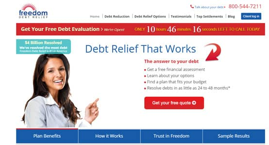 Freedom Debt Relief screenshot