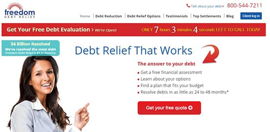 Screenshot of Freedom Debt Relief