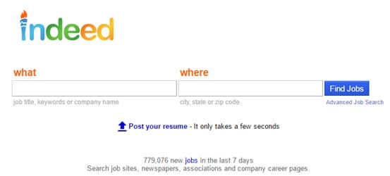 Indeed homepage screenshot