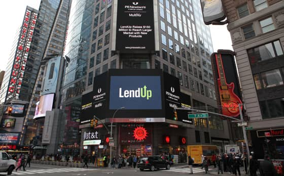 Photo of LendUp billboard in Times Square, NY.