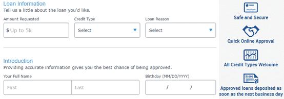 Screenshot of Bad Credit Loans application