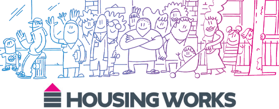 Collage of Housing Works logo and cartoon of people in a neighborhood