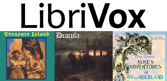 Collage of LibriVox logo and Treasure Island, Dracula, and Alice in Wonderland book covers