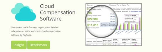 Screenshot of PayScale business dashboard