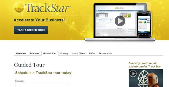 Trackstar product page screenshot