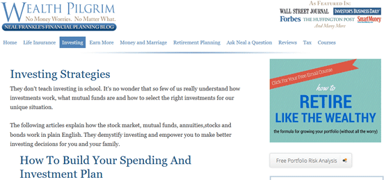 Screenshot of Wealth Pilgrim Blog Article