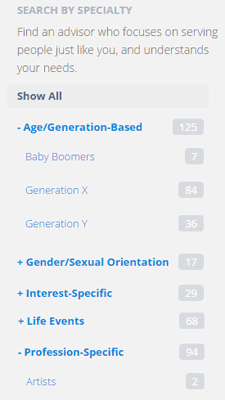Screenshot of XYPN Pick-An-Advisor Page