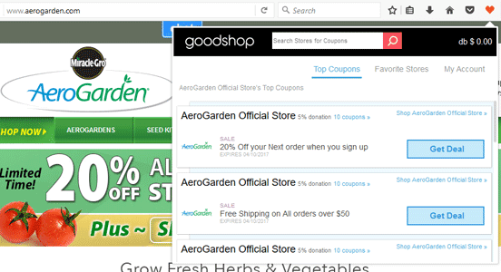 Screenshot of Gumdrop Coupon List