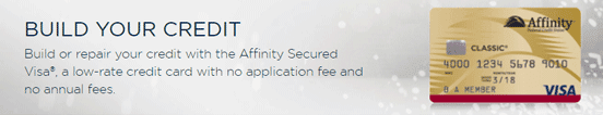 Screenshot from the Affinity Federal Credit Union Secured Visa® Page