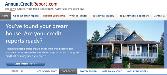 Screenshot of AnnualCreditReport.com Homepage