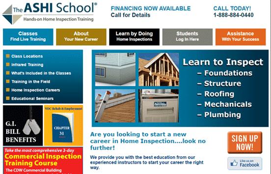 Screenshot of the The ASHI School homepage