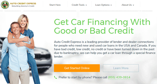 Screenshot of Auto Credit Express Homepage