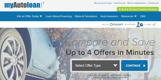 Screenshot of myAutoloan.com Homepage
