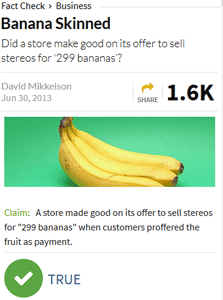 screenshot of snopes article, banana skinned