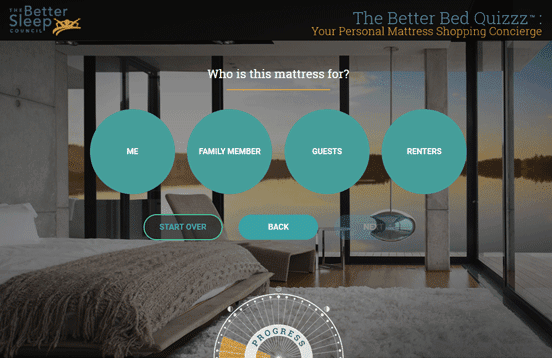 Screenshot of the Better Bed Quiz