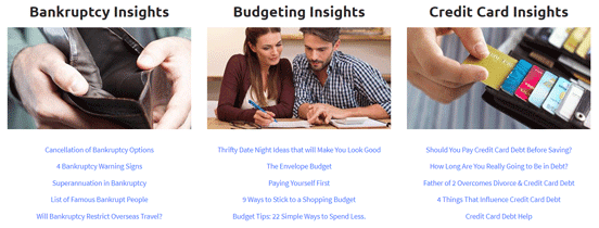 Screenshot from the Debt Mediators blog