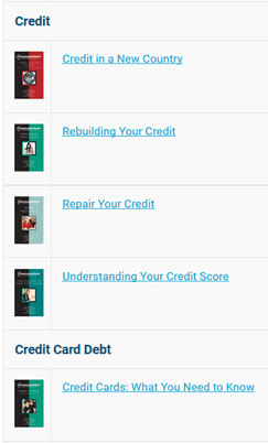 Screenshot of Consolidated Credit Book List