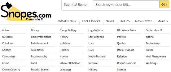screenshot of snopes categories
