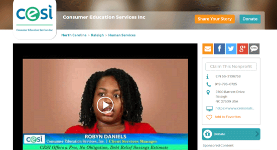 Screenshot from the Consumer Education Services Inc. page on GreatNonprofits