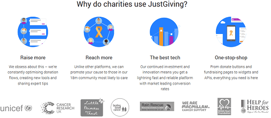 Screenshot of JustGiving Charities Page