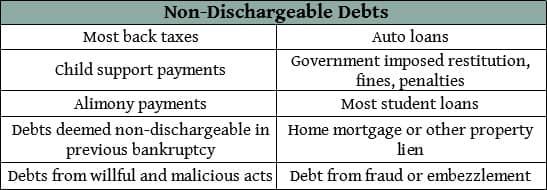 Non-Dischargeable Debts Chart