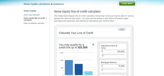 Chase Bank's Home Equity line of credit calculator
