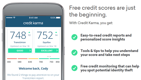 Screenshot of Credit Karma Homepage