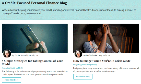Screenshot of the Clearpoint blog