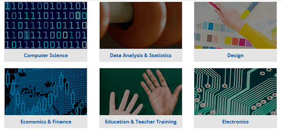 Screenshot of edX Course Subjects