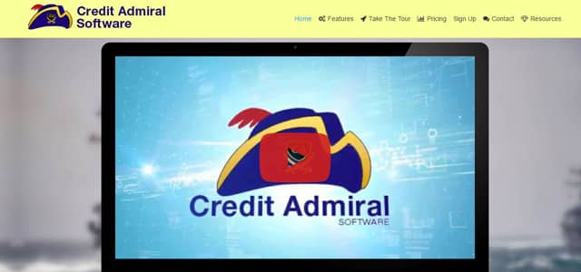 Screenshot of Credit Admiral's homepage