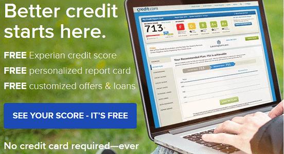 Screenshot of Credit.com Homepage
