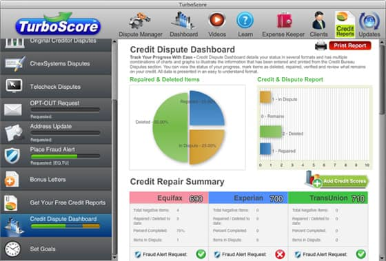 Screenshot of TurboScore Credit Repair Software