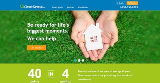 Screenshot of CreditRepair.com's homepage