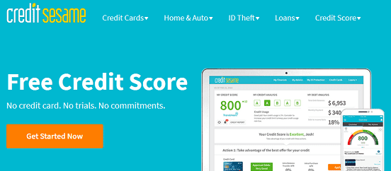 Screenshot of Credit Sesame Homepage