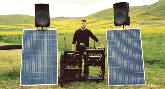 Photo of Sean Cusack with his photovoltaic fueled sound system