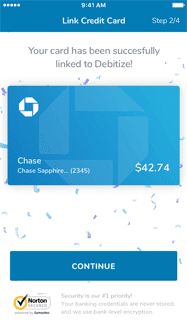 Screenshot of Debitize's Link Credit Card page